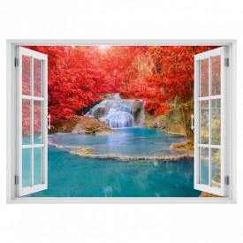Stickere pentru pereți, Fereastra cu vedere spre o cascadă înconjurată de flori roșii