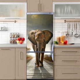 Stickerele decorative, pentru uși, Elefantul înfuriat, 1 foaie de 80 x 200 cm