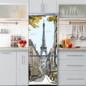 Stickerele decorative, pentru uși, Parisul pe hârtie, 1 foaie de 80 x 200 cm