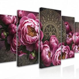 Tablou modular, Bujori de roz și flori de Mandala cu contur auriu