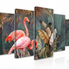 Tablou modular, Flamingo în fundalul junglei