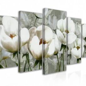 Tablou modular, Flori albe