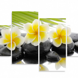 Tablou modular, Flori galbene pe pietre negre.