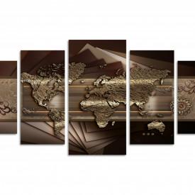 Tablou modular, Harta abstractă a lumii pe un fundal maro