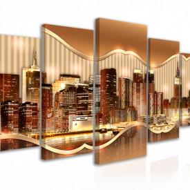 Tablou modular, Relieful orașului în tonuri aurii