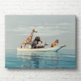 Tablouri Canvas, Animalele africane înoată pe o bucată de gheață