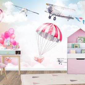 Tapet foto pentru copii, Parașute și aviație pe cerul pal roz