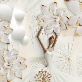 Fototapet 3D, Florile delicate pe un fundal 3D