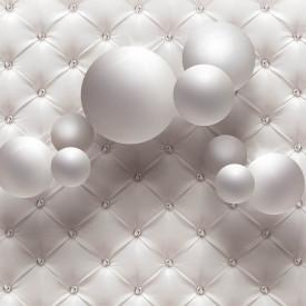 Fototapet 3D, Sfere albe pe un fundal alb cu pietre prețioase