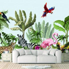 Fototapet, Animale în junglă, imprimare fără sudură