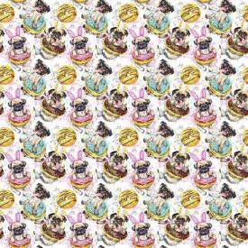 Fototapet, Câini și prăjituri frumoase pe un fundal alb