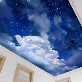 Fototapet, Cerul nocturn spațial cu stele și nori