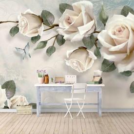 Fototapet Fantezie, Crenguțe de trandafiri albi