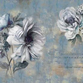 Fototapet, Flori albe pe un fundal albastru pal