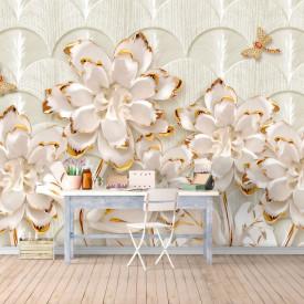 Fototapet, Flori de aur pe un fundal delicat