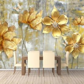 Fototapet, Flori galbene pe un fundal bej abstract