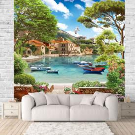 Fototapet Fresco, Fototapete cu un lac frumos și bărcile pe apă