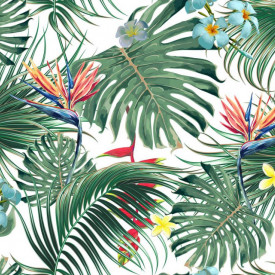 Fototapet, Frunze verzi tropicale cu flori
