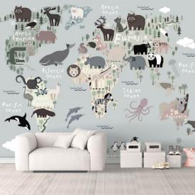 Fototapet, Harta animalelor alb-negru