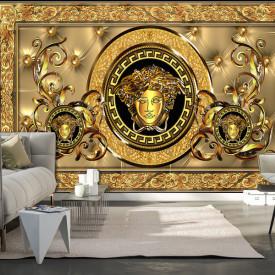 Fototapet, Logo Versace pe un perete galben