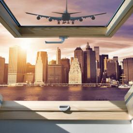 Fototapet, O fereastră cu Priveliște la orașul visurilor