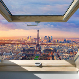 Fototapet, O fereastră cu Priveliște la un oraș, noaptea