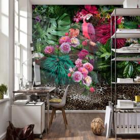 Fototapet, Orhidee roz cu frunze verzi