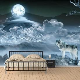 Fototapet, Un lup și luna plină