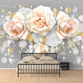 Fototapete 3D, Buchet de trandafiri roz pe fond gri
