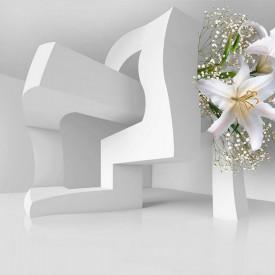 Fototapete 3D, Crini albi pe fundalul unei construcții abstracte