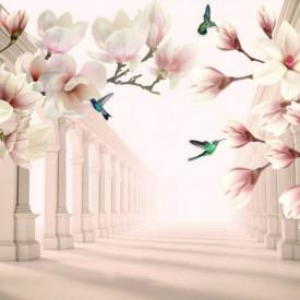 Fototapete 3D, Magnolii albe și păsări colibri pe fundalul unui tunel cu coloane grecești
