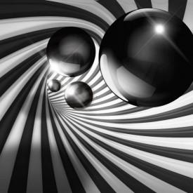 Fototapete 3D, O bilă gri și un tunel în dungi.