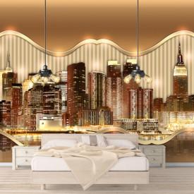 Fototapete 3D, Orașul maro pe apă