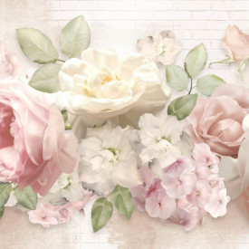 Fototapete, Delicate flowers on a white background