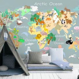 Fototapete, Harta lumii pentru copii pe fond gri