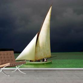 Fototapete, O barcă cu pânze albe pe apă.