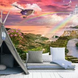 Fototapete Pentru Copii, Peisajul frumos împotriva cerului roz