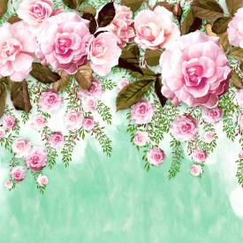 Fototapete, Trandafir roz pe fond verde