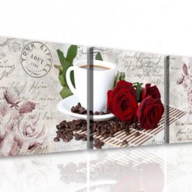 Multicanvas, Trandafiri roșii cu o cană albă cu cafea