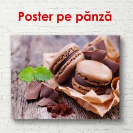 Poster, Biscuiți cu macaron de ciocolată pe masă