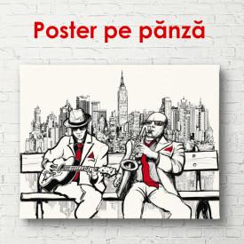 Poster, Desenul grafic al muzicienilor de pe o bancă
