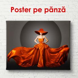Poster, Doamnă în pălărie luxoasă și rochie roșie