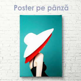 Poster, Doamnă într-o pălărie alb-roșie