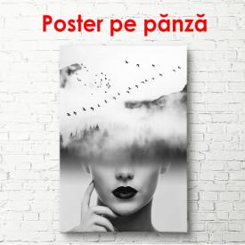 Poster, Fata alb-negru în nori