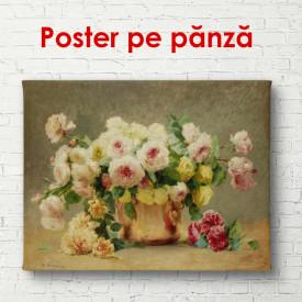 Poster, Flori sălbatice într-un coș de pe masă