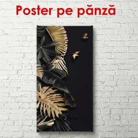 Poster, Frunze de aur pe un fundal negru
