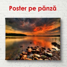 Poster, Peisajul de lacul frumos la apusul soarelui