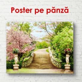Poster, Scara într-un parc verde
