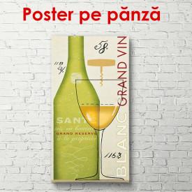 Poster, Sticla de vin cu un pahar pe masă