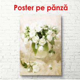 Poster, Trandafiri albi într-o vază albă
